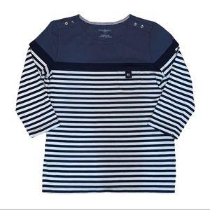 5/$25 Karen Scott Sport LS Blue Stripped Shirt M